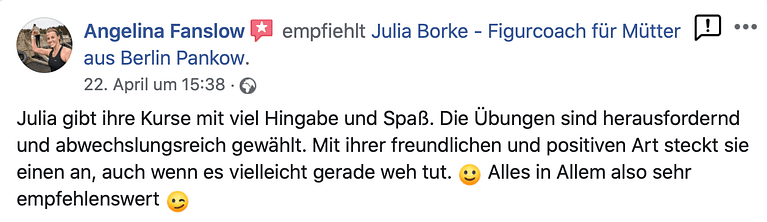 Kundenstimme Julia Borke Figurcoach für Mütter Personal Trainerin Berlin Pankow