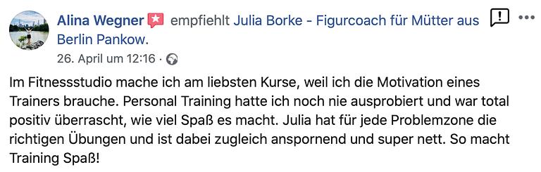 Kundenbewertung Personal Trainerin Berlin Pankow Mütter